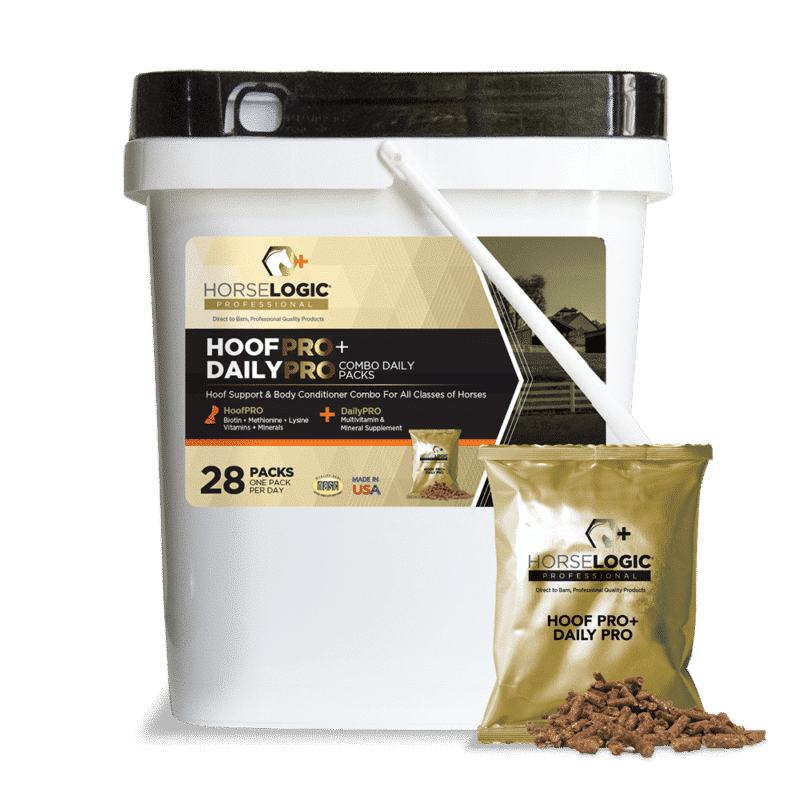 HoofPRO and DailyPRO bucket with golden daily pack in front