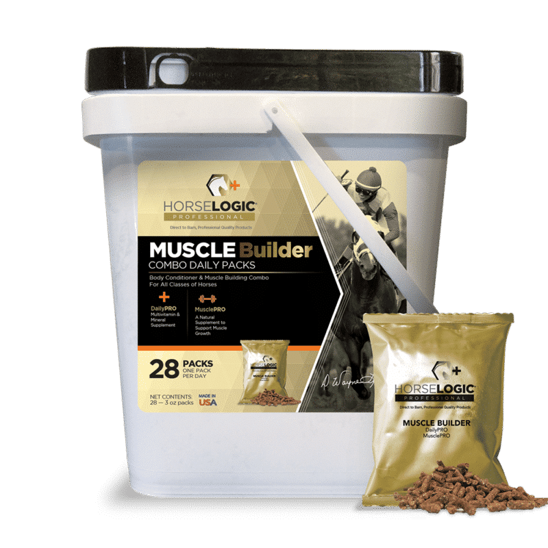 Muscle Builder bucket with golden daily pack in front