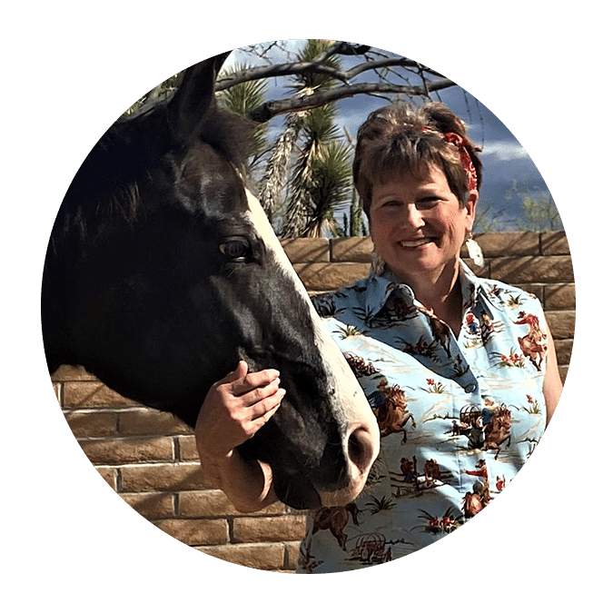 woman with short hair and black horse