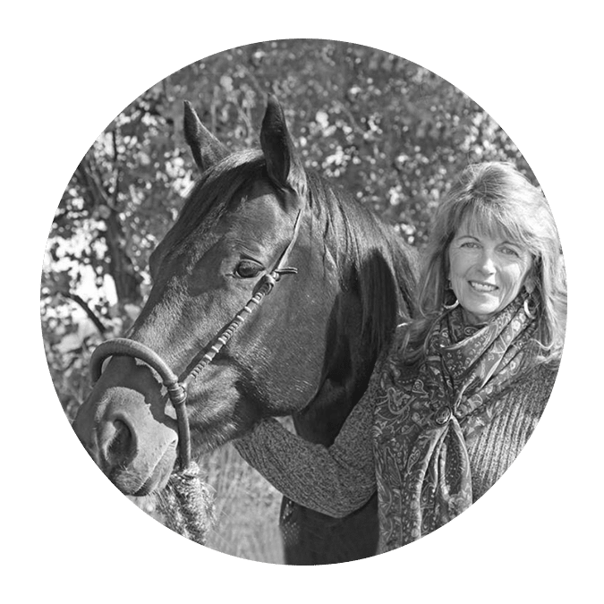 woman with scarf next to horse with bosal