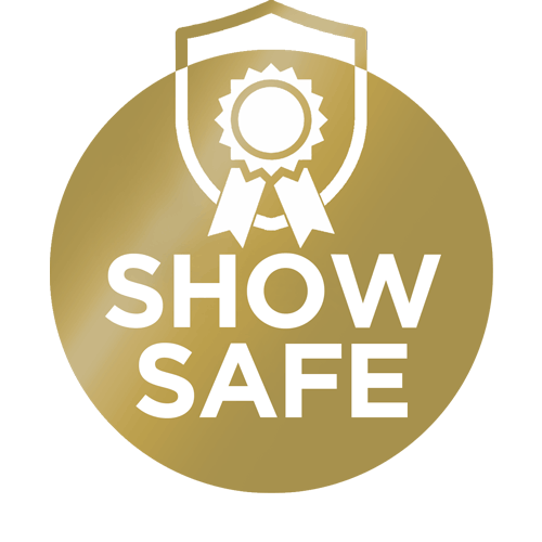 """gold badge that says """"Show Safe"""""""